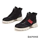 達芙妮DAPHNE  休閒鞋-純色高筒厚底綁帶休閒鞋-黑
