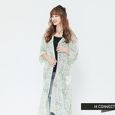 H:CONNECT 韓國品牌 女裝-輕盈開襟印花罩衫-白