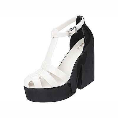 MELISSA 復古粗跟踝帶高跟鞋-白/黑