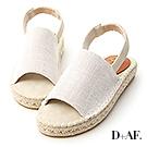 D+AF 無印風格.一字寬帶厚底草編涼鞋*米白