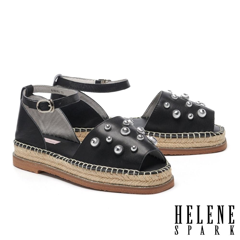 涼鞋 HELENE SPARK 時髦方頭鉚釘草編厚底涼鞋-黑