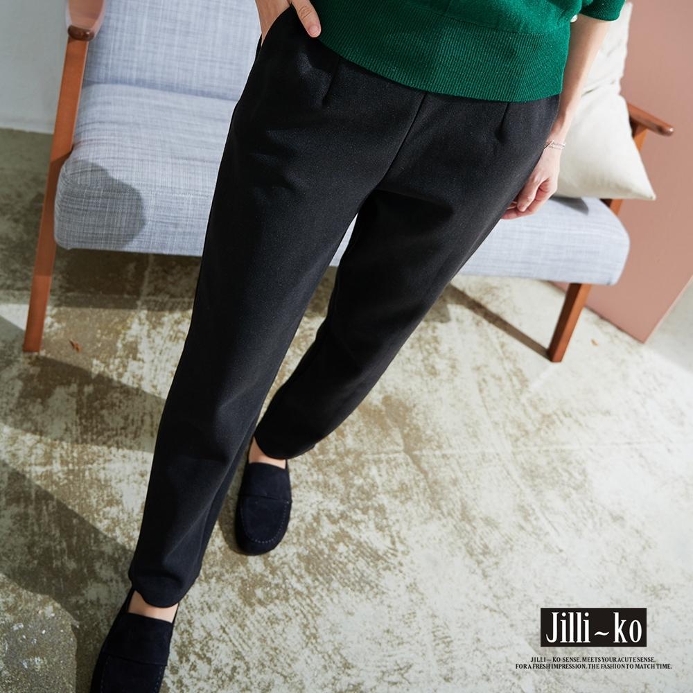 JILLI-KO 後腰鬆緊打褶加厚哈倫褲- 黑色