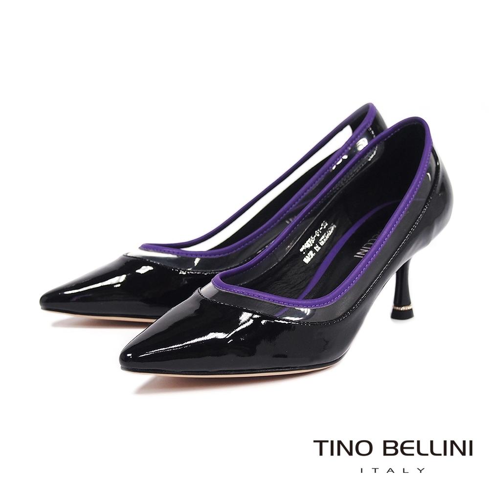 Tino Bellini玩味透膚跳色線條高跟鞋_黑+紫