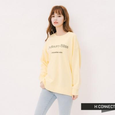 H:CONNECT 韓國品牌 女裝 - 甜美繡字大學T - 黃