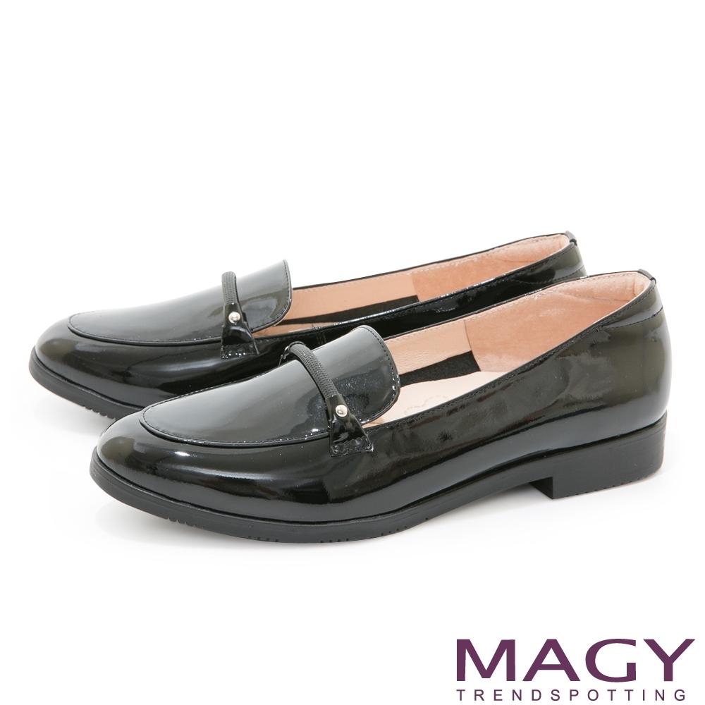 MAGY 亮亮條帶真皮樂福 女 平底鞋 黑色
