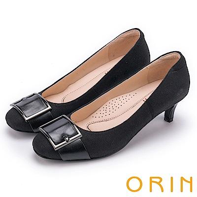 ORIN 魅力輕時尚 皮帶扣環條紋中跟鞋-黑色