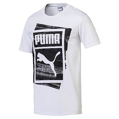 PUMA-男性流行系列重疊Logo短袖T恤-白色-亞規