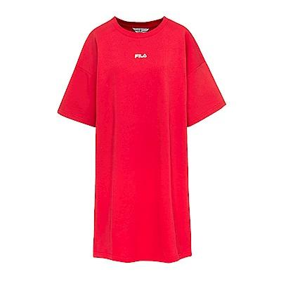 FILA #漢城企劃 女款純棉長版T恤-紅 5TET-1418-RD