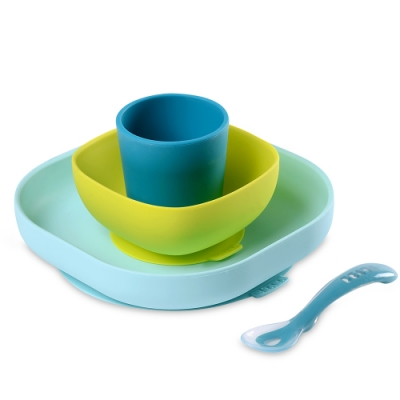 奇哥 BEABA 寶寶矽膠學習餐具組-藍色