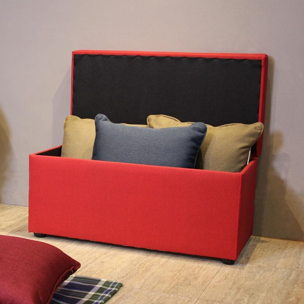 【Asllie】貝琪掀蓋收納長椅-紅色(腳凳/床前椅/沙發椅凳-貓抓皮)-89x44x42.5cm
