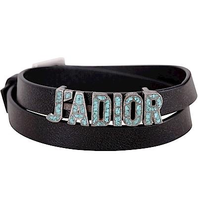 Dior JADIOR 鍍鈀馬賽克綠松石小牛皮雙圈手環/頸鍊