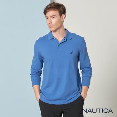 Nautica經典素面長袖POLO衫-天空藍