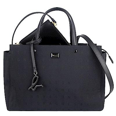 agnes b. voyage 黑色字樣尼龍布方形兩用肩背/手提包