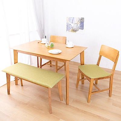 AS-克里斯淺色餐桌椅組-120x75x76cm(一桌二椅一長凳)