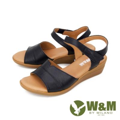 W&M(女) 寬帶楔型彈力涼鞋 女鞋 -黑(另有棕)