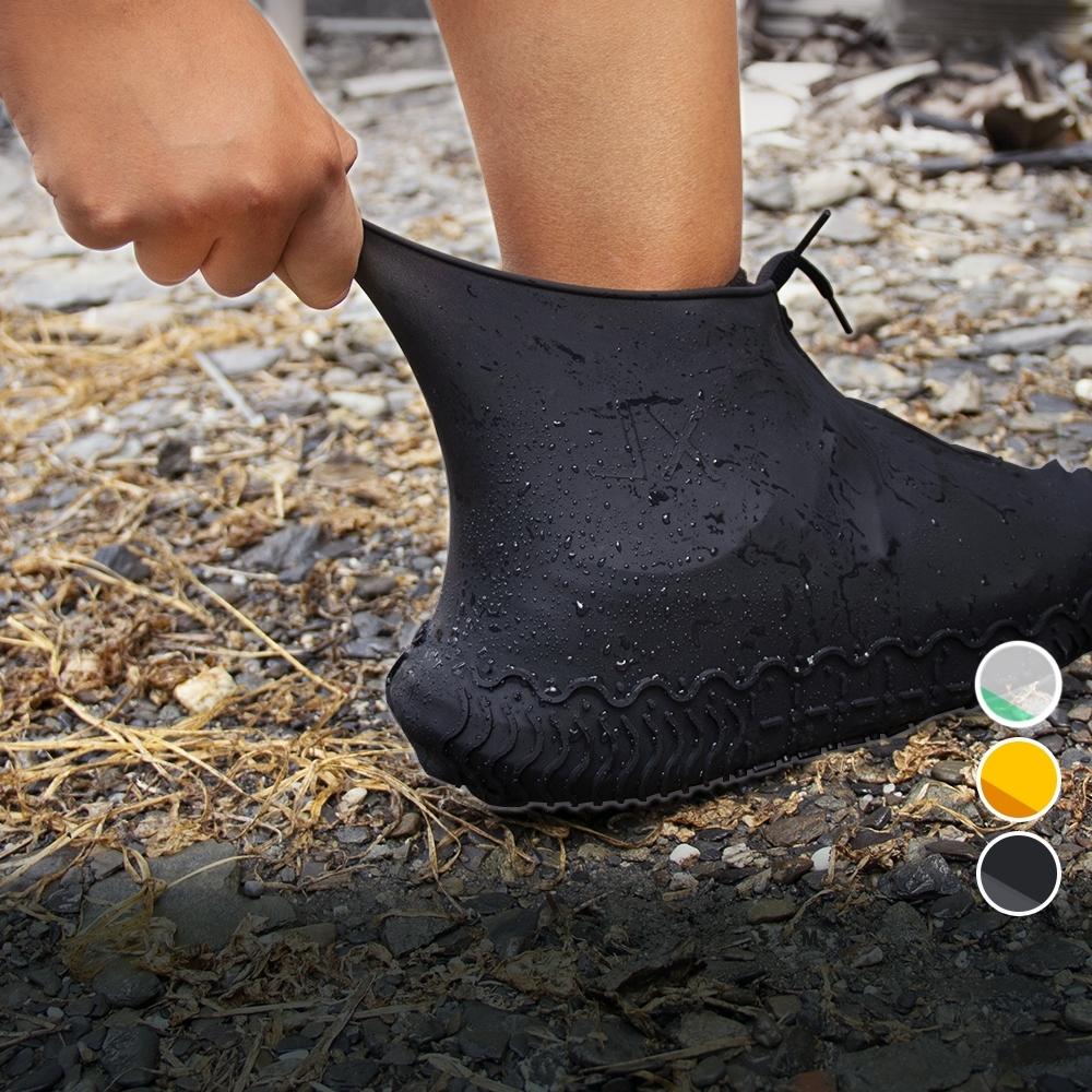 【Incare】防水拉鍊防滑矽膠雨鞋套(S-XL/三色可選)