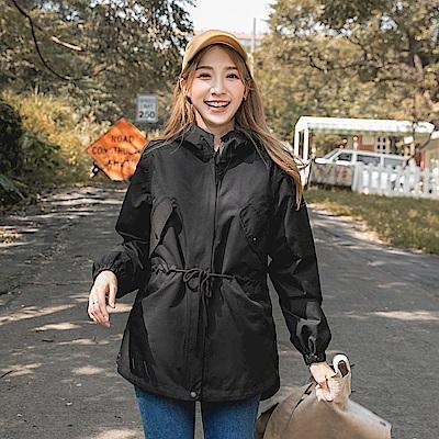 防風防水科技保暖羽絨棉長版風衣外套-OB大尺碼