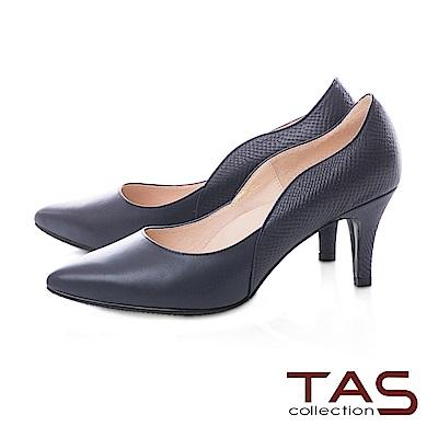 TAS 質感素面壓紋羊皮曲線高跟鞋-知性藍