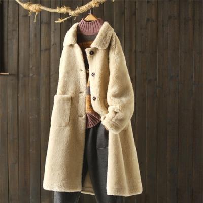 羊剪絨大衣中長版翻領顯瘦羊羔絨保暖外套-設計所在