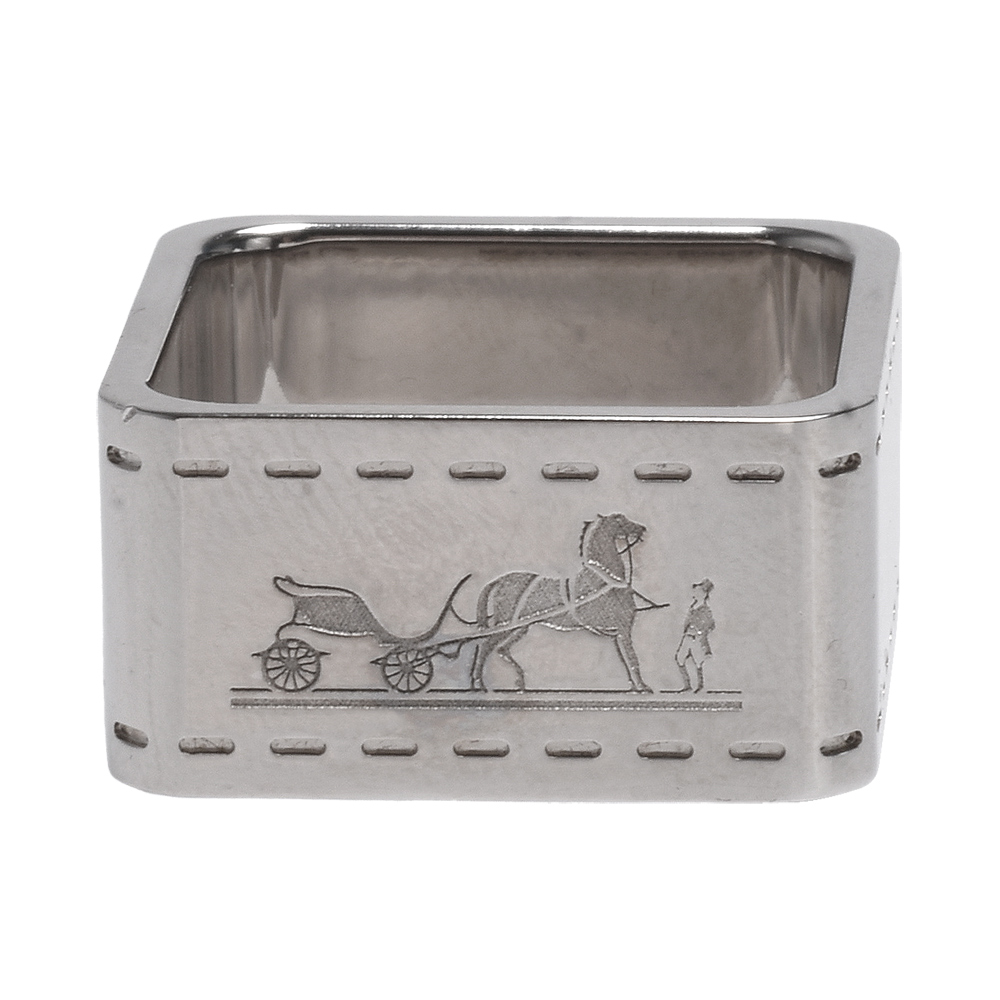 HERMES 經典品牌馬車LOGO方形絲巾釦環(銀)