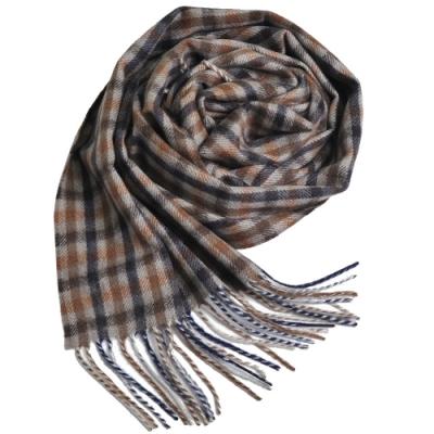 Aquascutum 英國製100%羊毛經典品牌字母LOGO刺繡圍巾(咖啡底/深藍格紋)