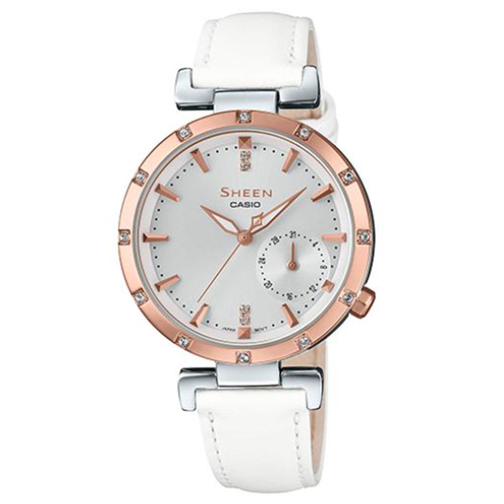 SHEEN優雅簡約耀眼施華洛世奇指針皮帶腕錶(SHE-4051PGL-7)白32mm @ Y!購物
