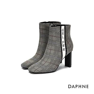 達芙妮DAPHNE 短靴-撞色字母印花粗高跟短靴-格紋