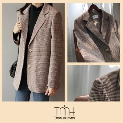 韓國復古墊肩西裝外套-TMH