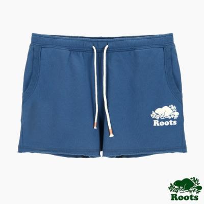 女裝Roots 炫彩霓虹休閒短褲-藍色