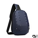 A.J.亞介 街頭潮流 鉚釘造形 胸掛包 斜垮包 單肩包 藍色 G9501