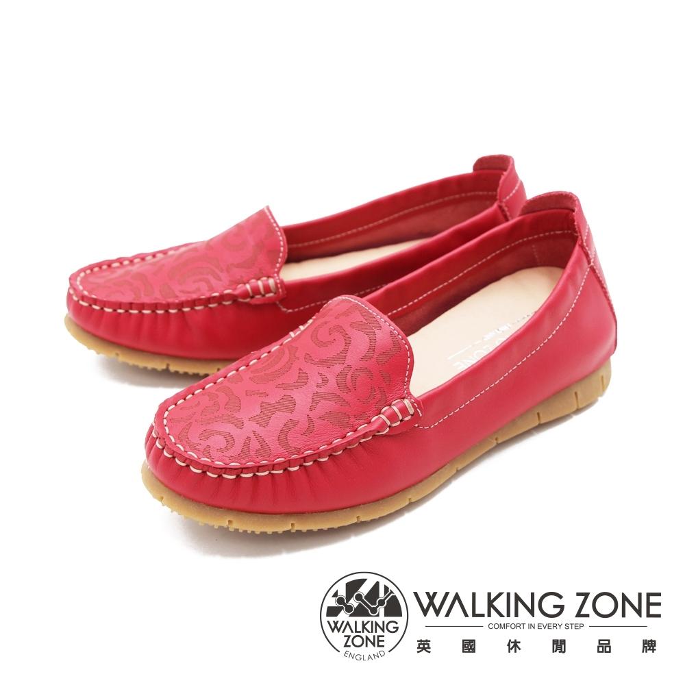 WALKING ZONE(女) 柔軟壓紋樂福鞋莫卡辛女鞋-紅 (另有藍.可可)