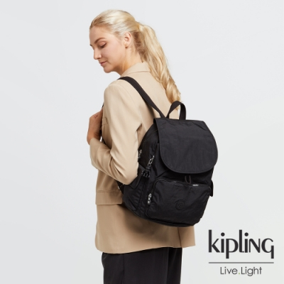 Kipling 曜岩黑品牌經典圓標拉鍊掀蓋後背包-CITY PACK