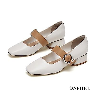 達芙妮DAPHNE 粗跟鞋-知性方頭撞色繫帶瑪莉珍粗跟鞋-米白