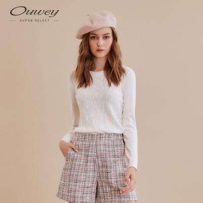 OUWEY歐薇 典雅滿版緹花針織上衣(白)