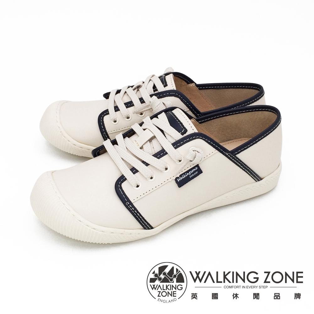 WALKING ZONE (女)大圓頭餅乾鞋 復古底色休閒鞋-藍(另有粉)