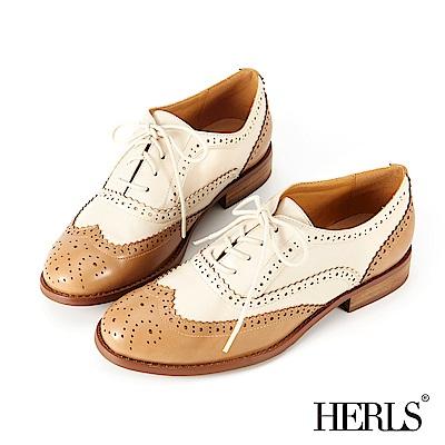 HERLS 玩味復古 內真皮雙色雕花牛津鞋-淺棕x米