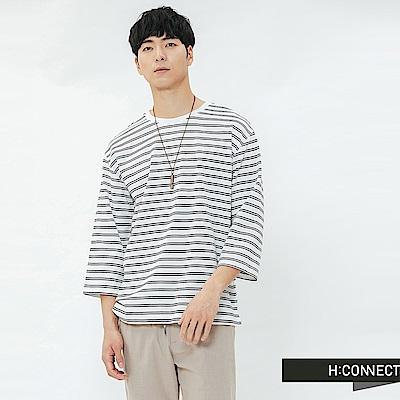 H:CONNECT 韓國品牌 男裝-滾邊五分袖條紋T-shirt-白