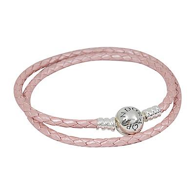 Pandora 潘朵拉 925純銀圓珠開扣式 雙圈皮革皮繩手鍊手環 粉色