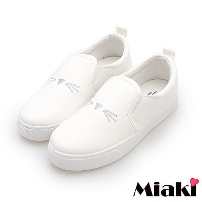 Miaki-休閒鞋.可愛貓咪平底懶人鞋-白