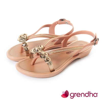 Grendha 晶鑽玫瑰平底涼鞋-女童-褐色