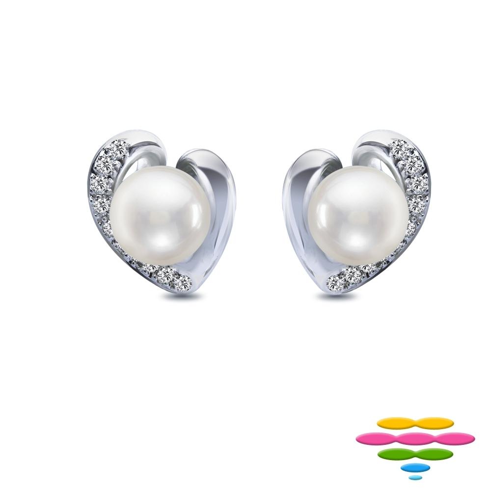 彩糖 日本AKOYA海水珍珠&鑽石 18K 愛心耳環