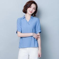 ALLK 斜縫鈕釦雪紡襯衫上衣 藍色(尺寸M-XXL)