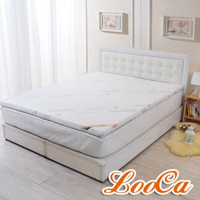 (親膚床枕組)LooCa 親膚天絲5cm七段式乳膠床墊(加大6尺)+天絲獨立筒枕x2