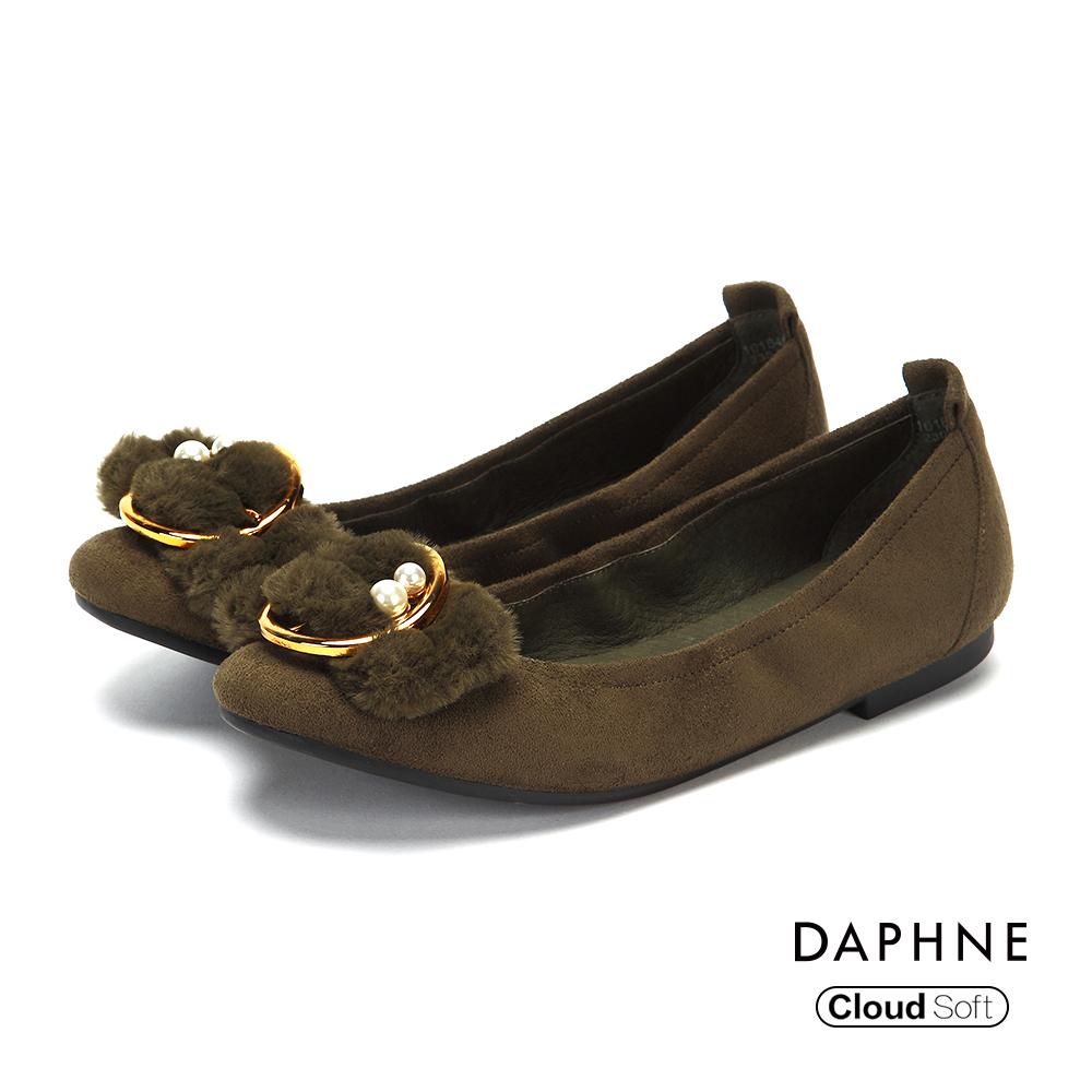 達芙妮DAPHNE 平底鞋-絨面金屬圓釦珠飾平底鞋-橄欖綠