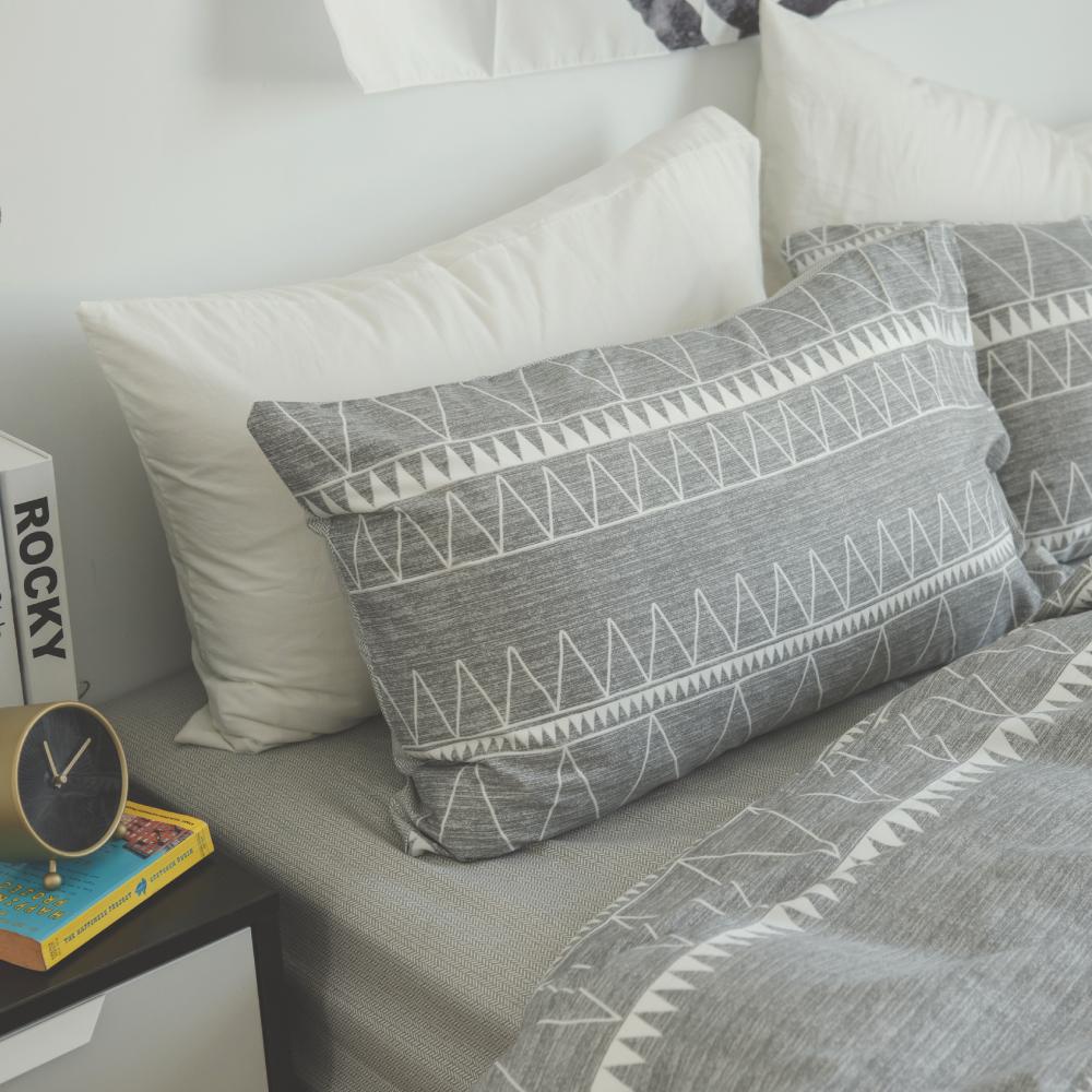 翔仔居家 台灣製 100%精梳棉薄被套&床包3件組-格瑞先生 (單人)