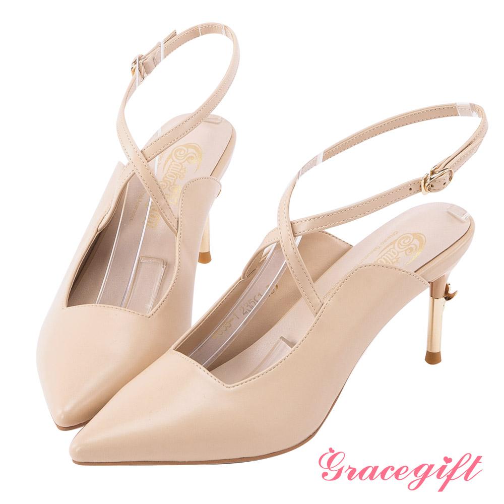 Grace gift-美少女戰士彎月神杖尖頭高跟鞋 杏