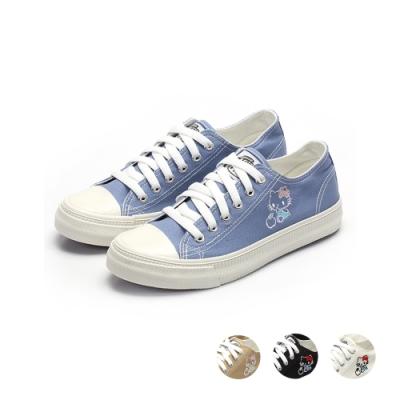 HELLO KITTY艾樂跑女鞋-基本款帆布鞋-藍/卡其/黑/白(920136)