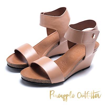 Pineapple Outfitter 知性美型 真皮寬版增高楔形鞋-米色