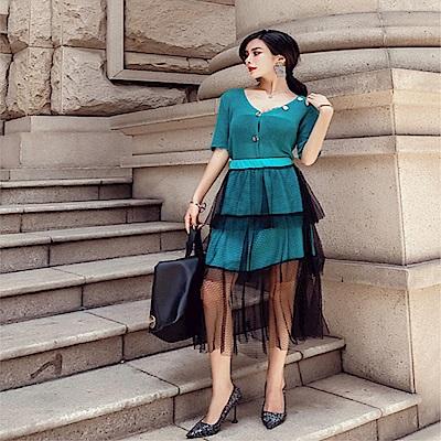 DABI 韓國風V領針織網紗裙俏皮甜美套裝短袖裙裝