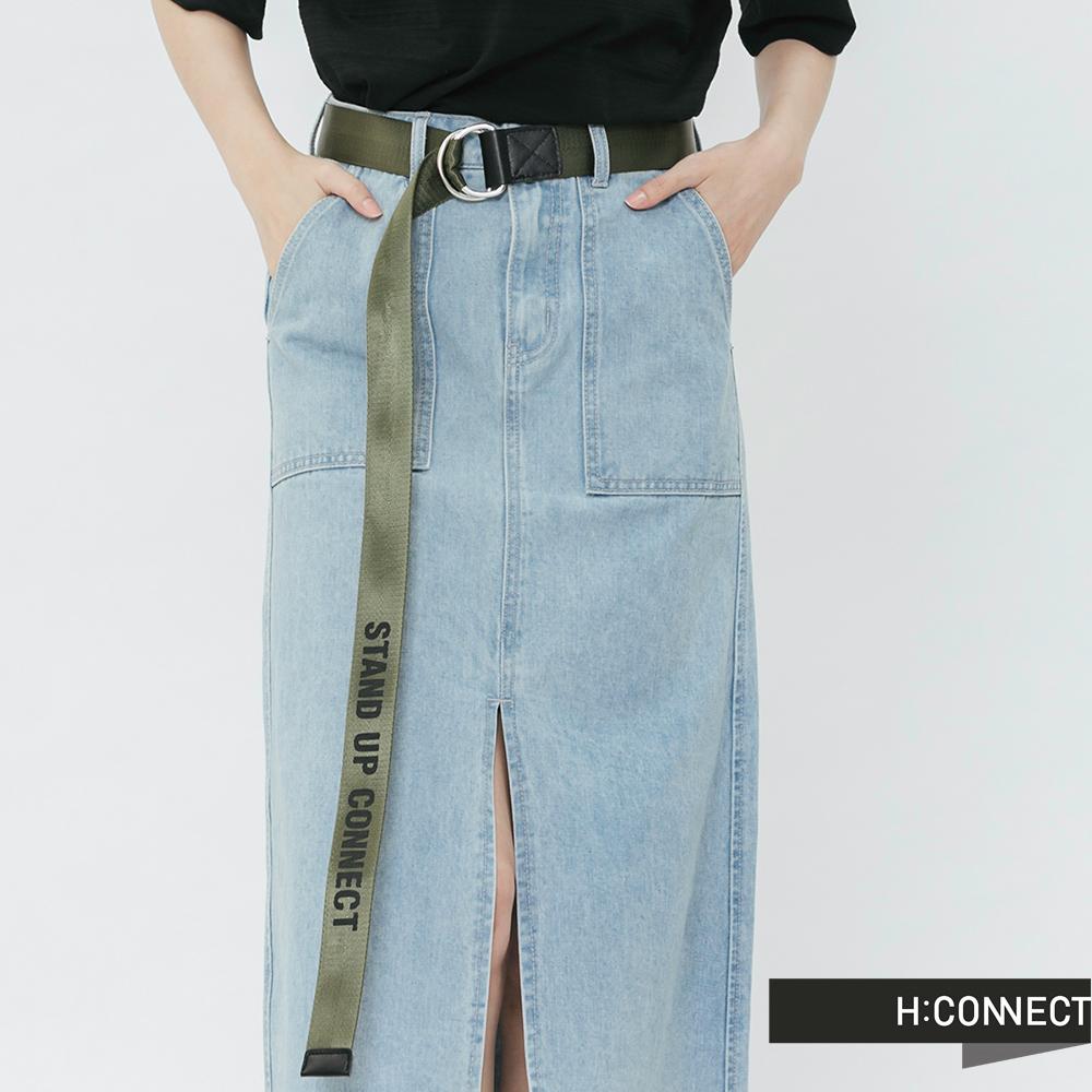 H:CONNECT 韓國品牌 -質感logo扣環腰帶-綠